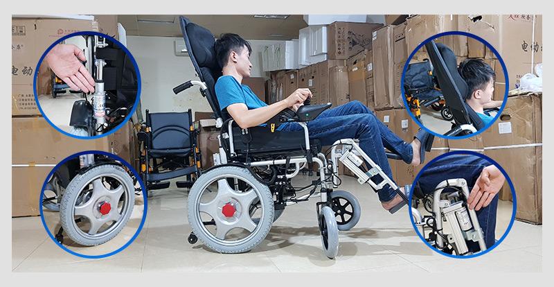 Xe lăn điện tự động thế hệ mới ngả nằm (Vành đúc) TM036D 3