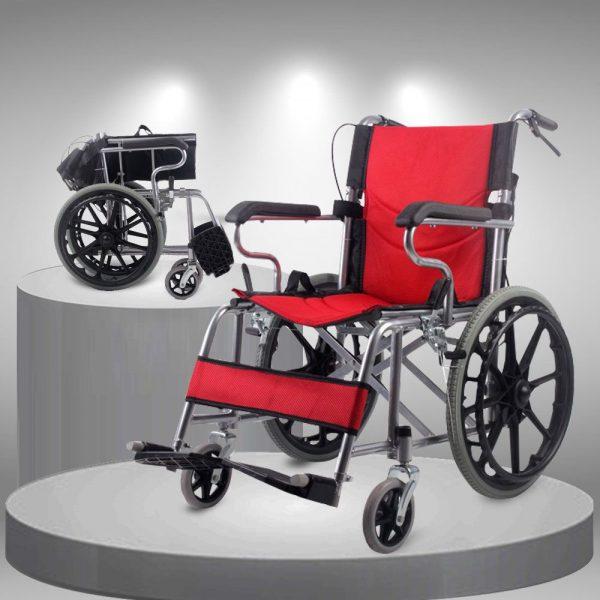 Xe lăn tay đẩy gấp gọn cao cấp loại vành đúc bánh to TM113N 1
