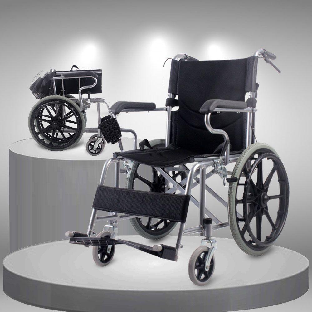 Xe lăn tay đẩy gấp gọn cao cấp loại vành đúc bánh to TM113N 2
